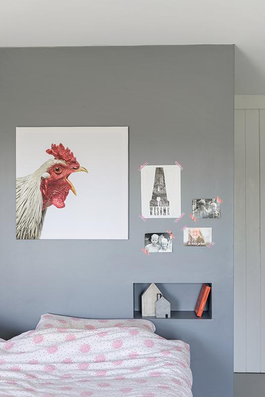 Kraaiende haan wanddecoratie. Als foto op hout, glas, canvas, aluminium of poster. Mooi in elk interieur.