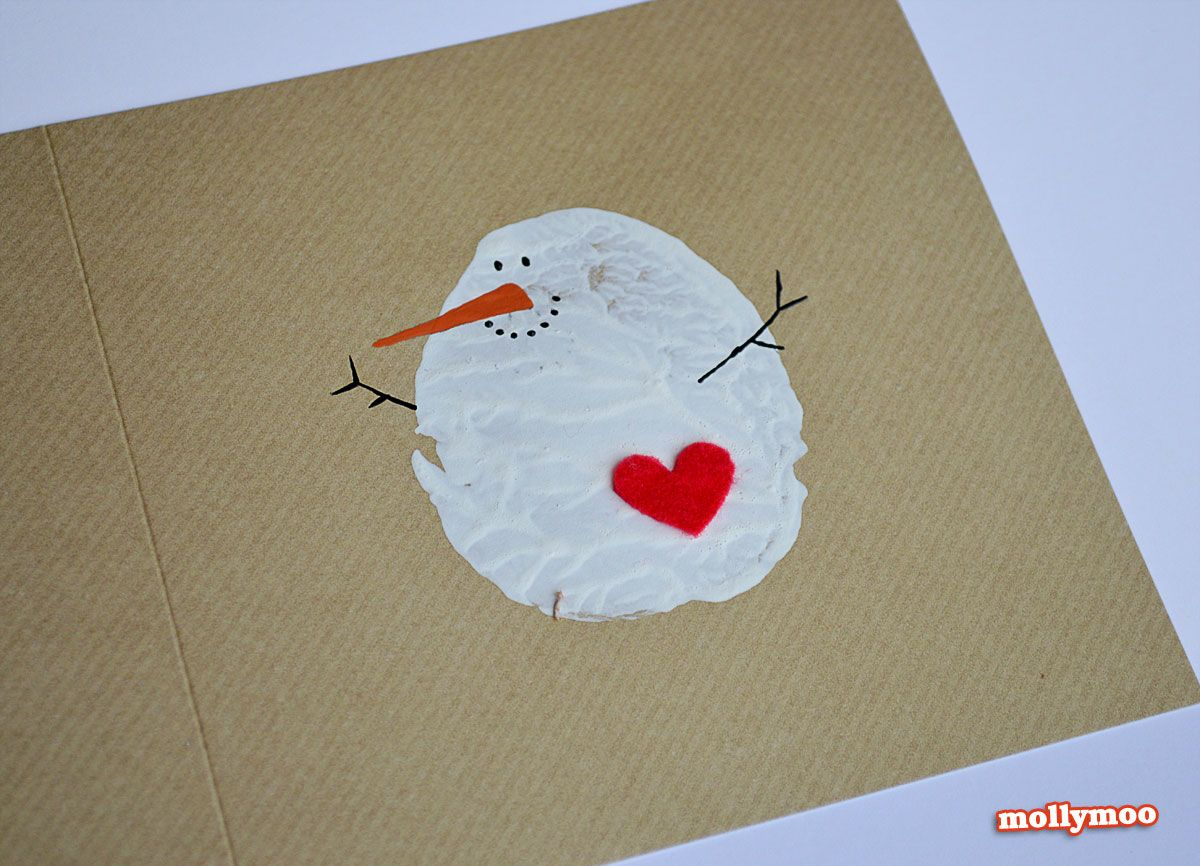 diy christmas cards potato printed snowman. Black Bedroom Furniture Sets. Home Design Ideas