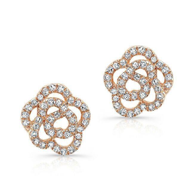 14kt Rose Gold Diamond Floral Stud Earrings Diamond Flower Earrings Measures 1 4 In Diam Flower Earrings Studs Rose Gold Earrings Studs Diamond Earrings Studs