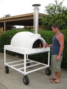 Mobile, Trolley Mounted Wood Fired Pizza Oven For Sale More