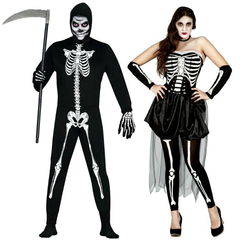 Pareja esqueletos halloween parejas disfraces carnaval for Disfraces parejas adultos