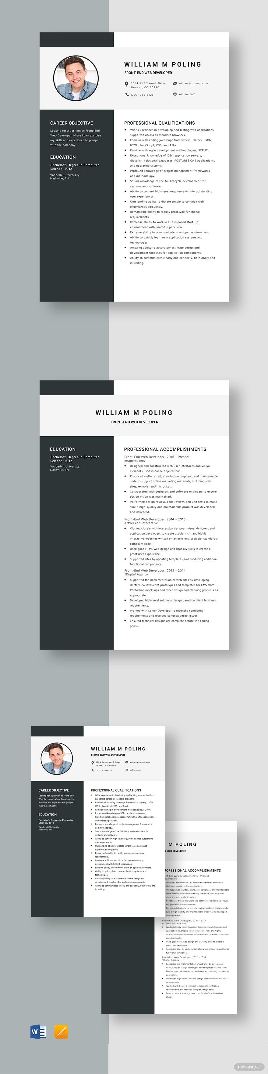 FrontEnd Web Developer Resume Template in 2020 Web