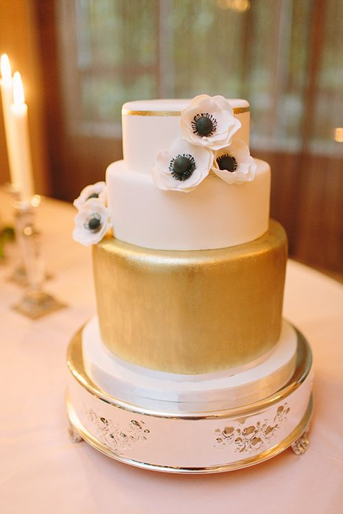 White and Gold Wedding Cake. Photo by When He Found Her