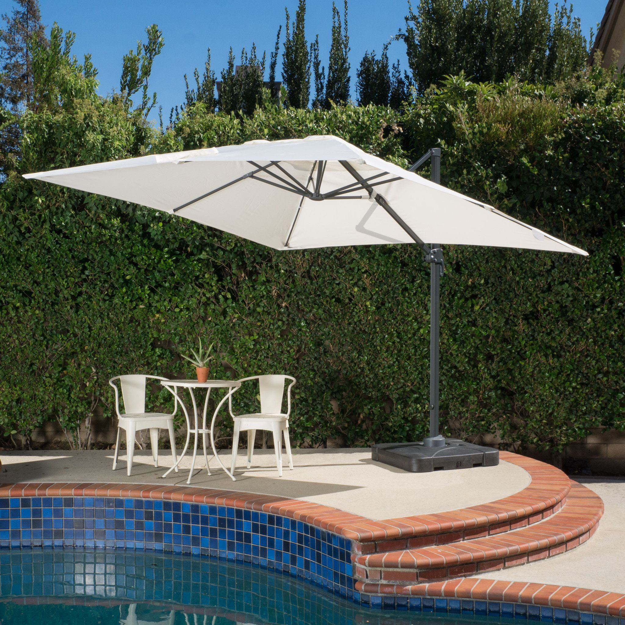 Madison Outdoor 9 8 Foot Beige Canopy Umbrella With Stand