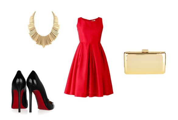 red prom dress with golden accessories outfit combination - Moda ...