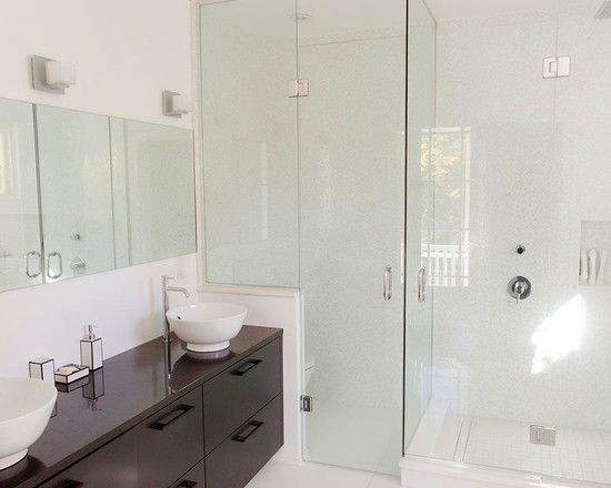 Stunning White Interior Paint for Natural Interior Material : Charming Bathroom Interior Renovations In Rockcliffe With Darkwood Floating Va...