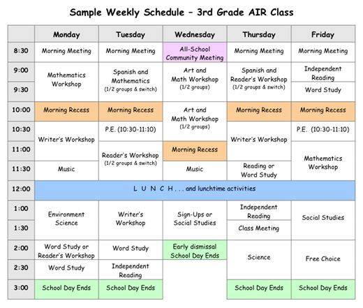 Sample Weekly Schedule For 3rd Grade Homeschooling Classroom