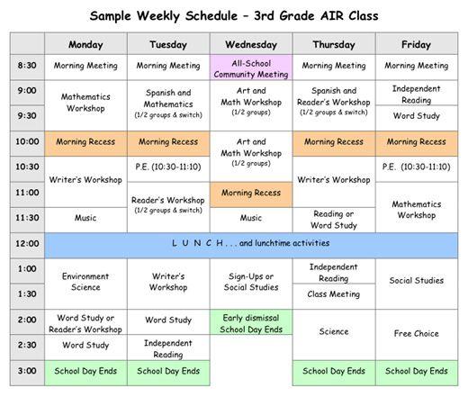 Sample Weekly Schedule For 3rd Grade School Schedule Homeschool
