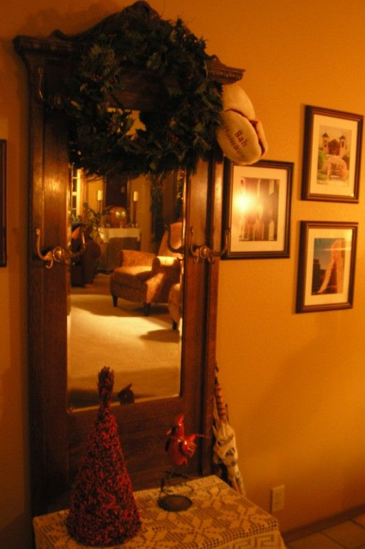 Hall tree. I love how a reflection in a mirror can give a sense of the entire room.