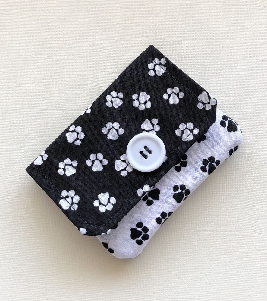 Paw Print Fabric Credit Card Wallet Gift Or Business Holder Handmade Ebay