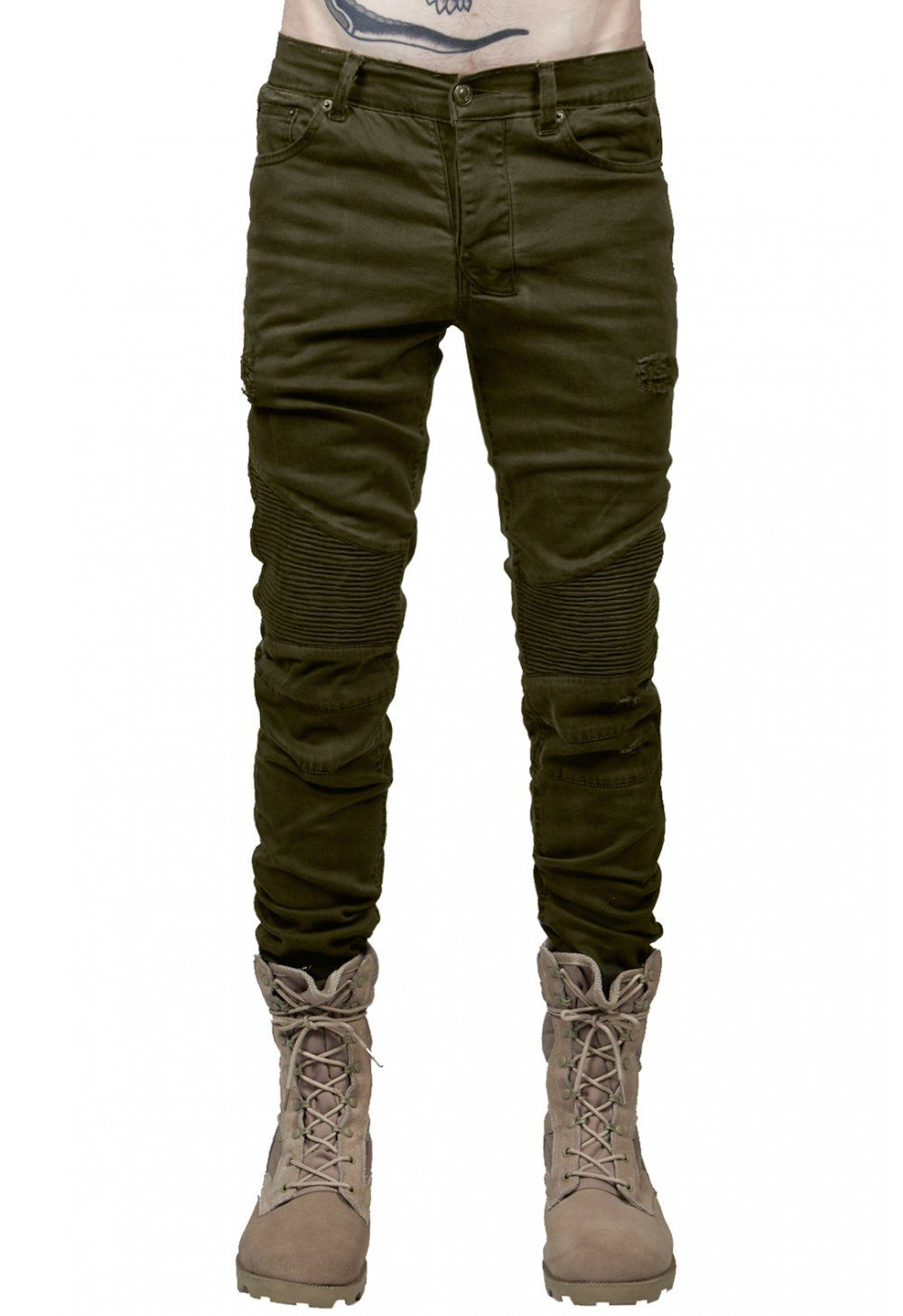 0aeecae96bd Distressed Biker Jeans   Olive - from Other UK Clothing Ltd UK ...