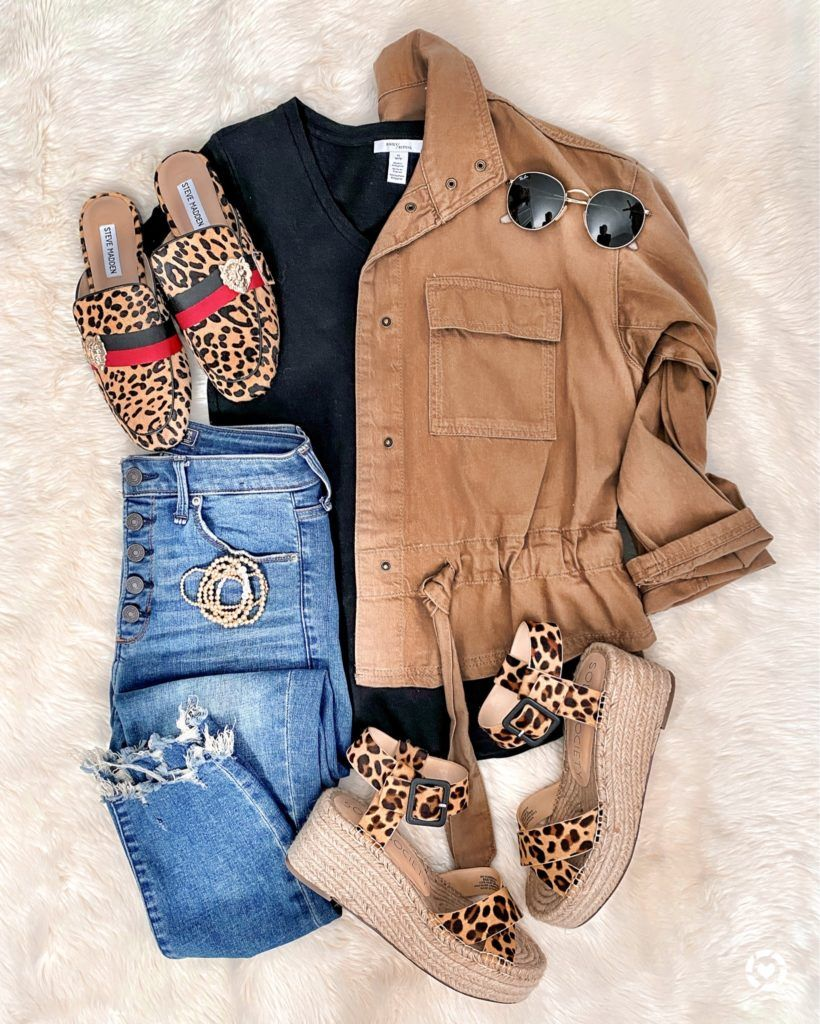 IG: @mrscasual | cute spring casual outfit with leopard sandals & leopard mules