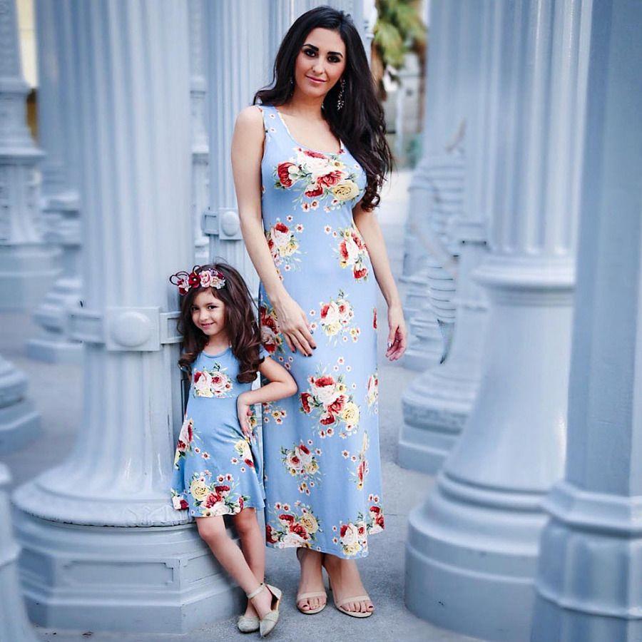 3a12e3ed36d1c Mom Girl Sleeveless Flowers Prints Matching Dress #matching outfits ...