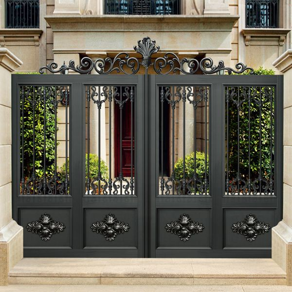 Luxury design black villa outside gate, flowers carving security