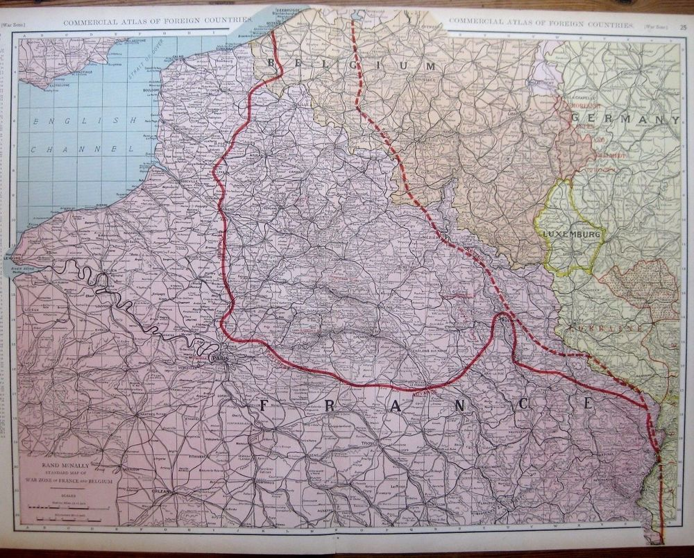 C1920 antique france map belgium map war zone map uncommon world war c1920 antique france map belgium map war zone map uncommon world war 1 map gumiabroncs Gallery