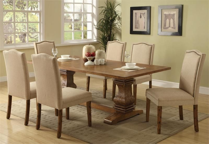 """86"""" richfield coffee transitional dining table set"""