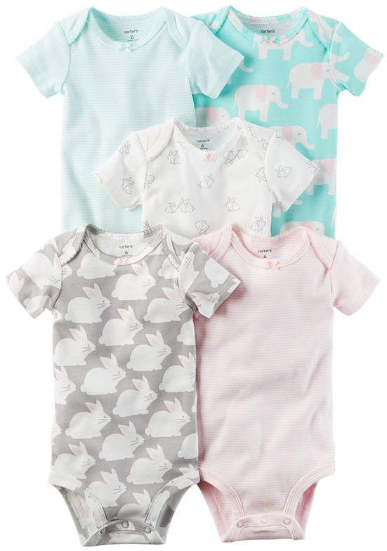 Little Baby Basics Girl 5 Pack Short Sleeve Bodysuits Knit Description Fabric Carters Baby