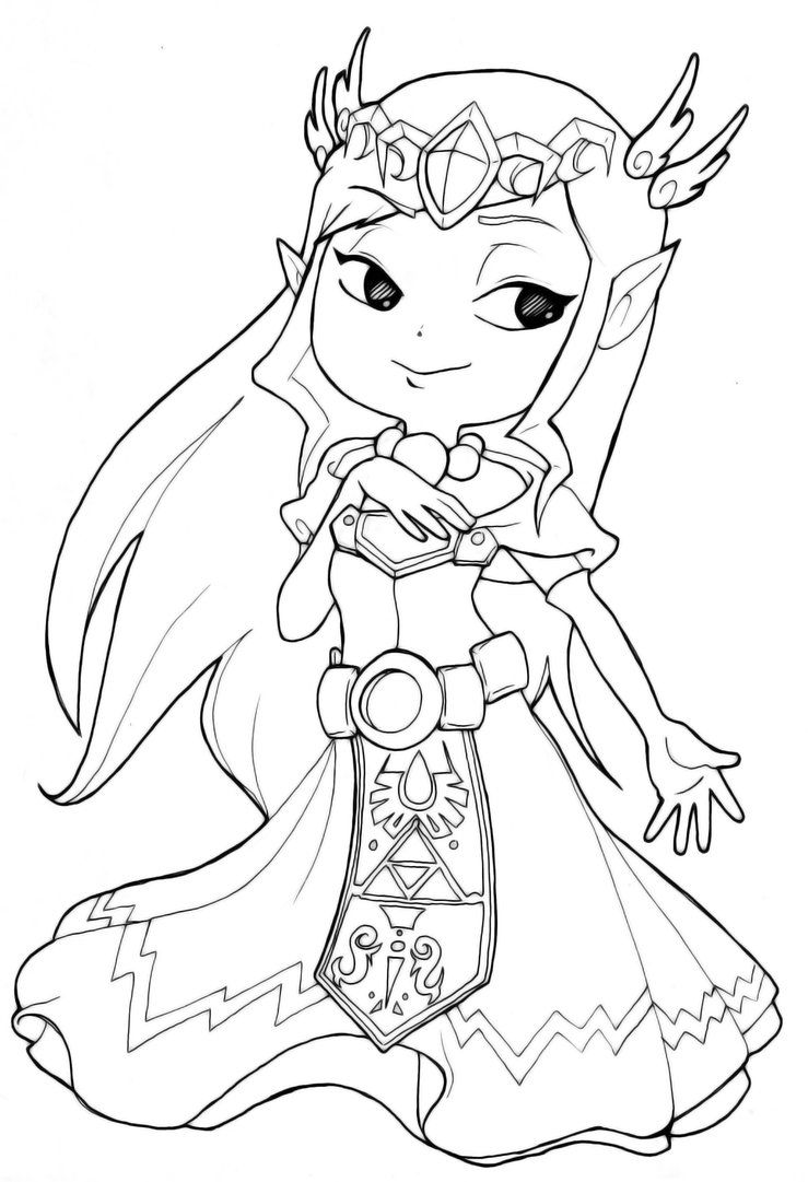 Generic princess coloring pages - Zelda Coloring Pages