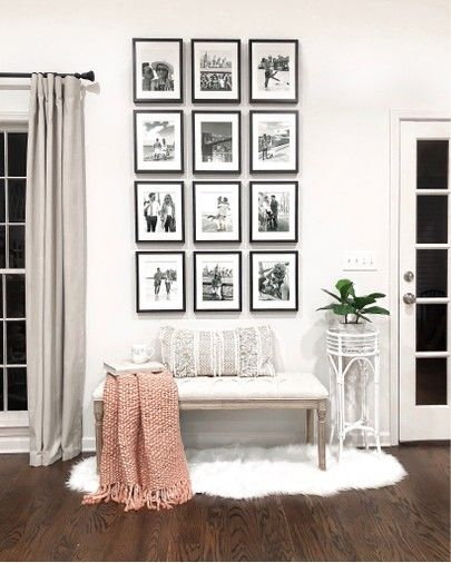 Gallery Wall Living Room Home Decor 8x10 Black Picture Frames Cream Tufted Bench White Faux Fu Gallery Wall Living Room Living Room Pictures Living Room Wall
