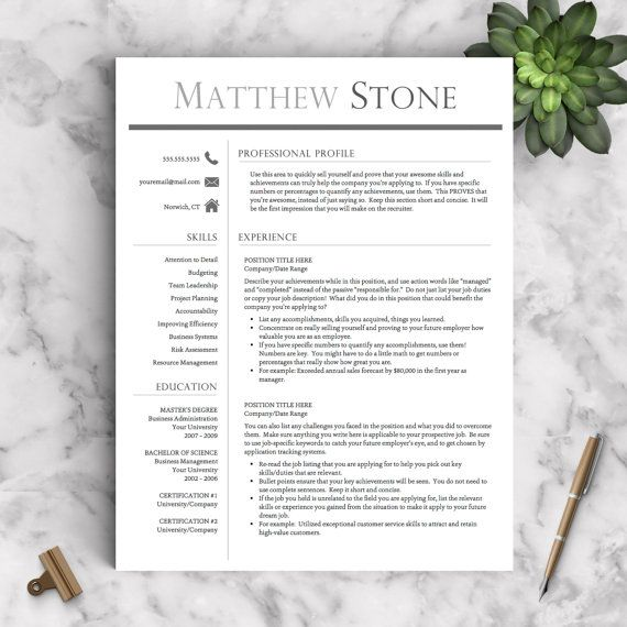 Professional Resume Template for Word and Pages 1-3 Page Resume - 3 page resume