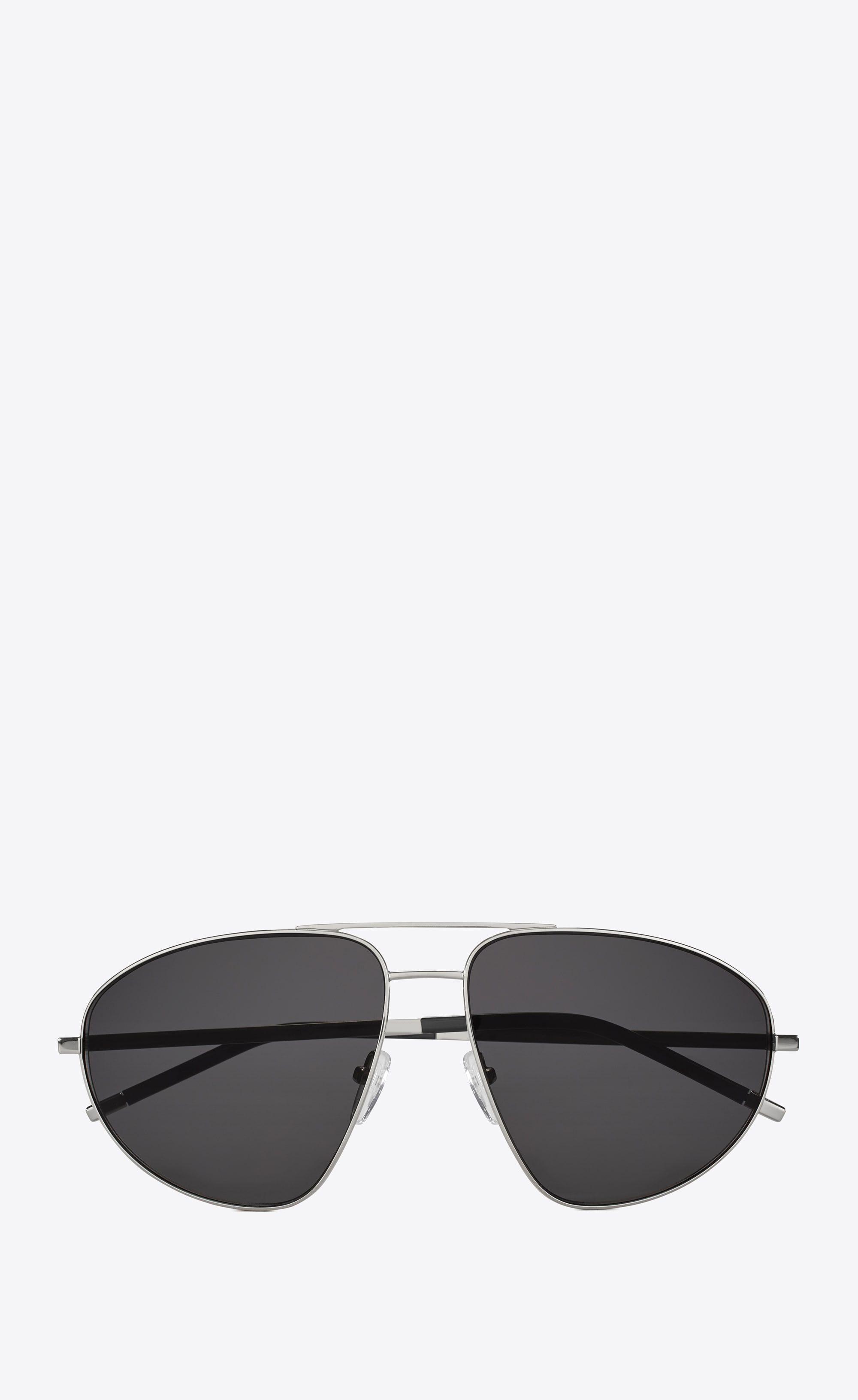 c46ac4749f0 Saint Laurent - Classic 2 sunglasses in silver metal, black acetate and  gray lenses ($405)