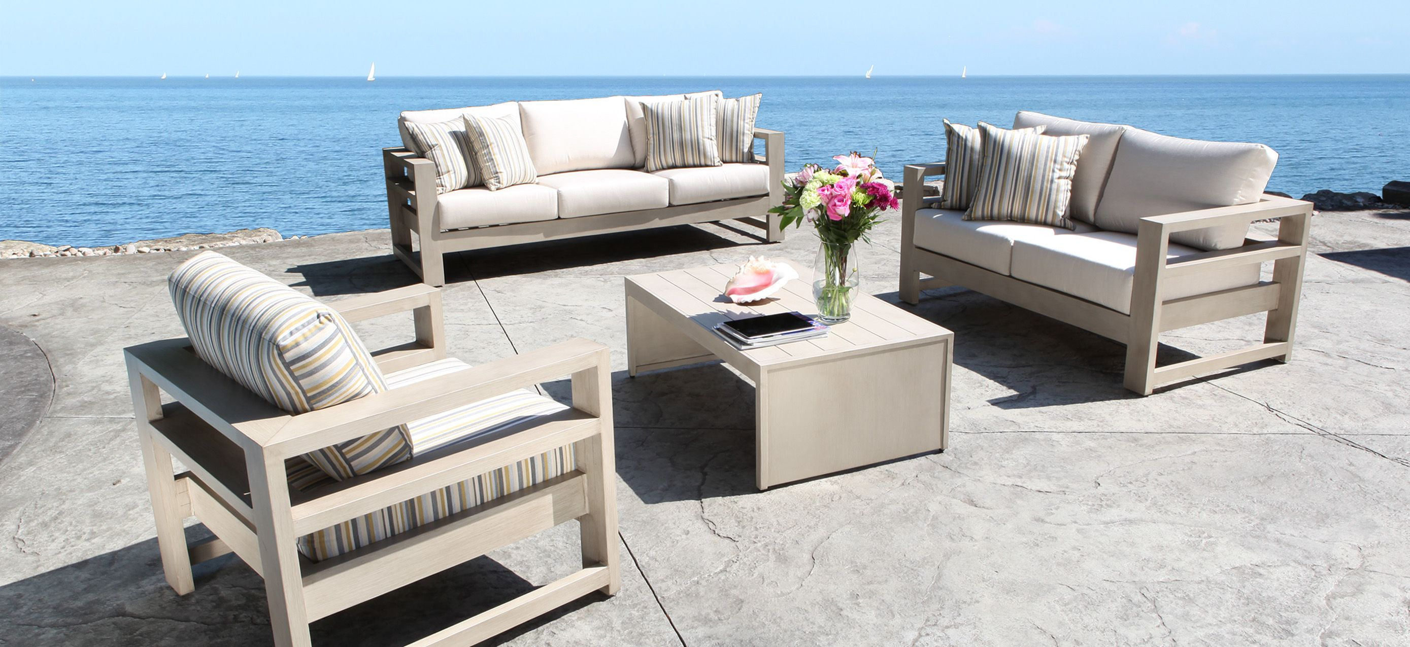 outdoor white steel lounge set by cabana coast