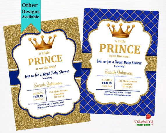 Prince Baby Shower Invitation Royal Blue By StrawberryPartyPrint