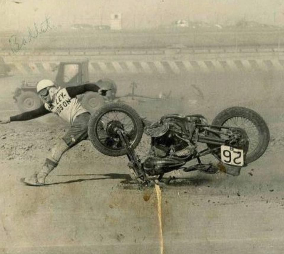 Vintage Picture Of A Motorcycle Wreck Racing Motorcycles