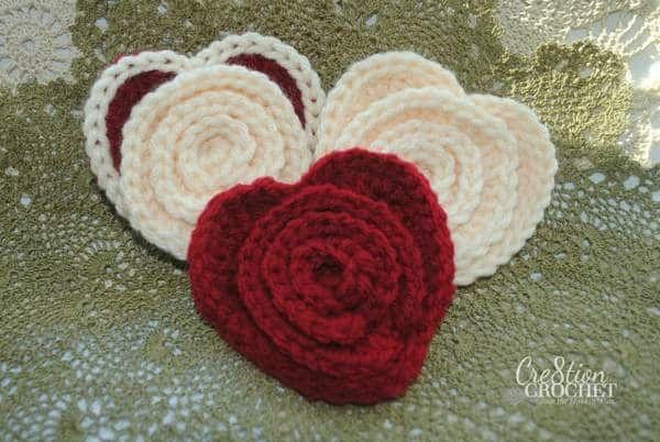 Layered Flower In A Heart Free Crochet Pattern Grannies Crochet