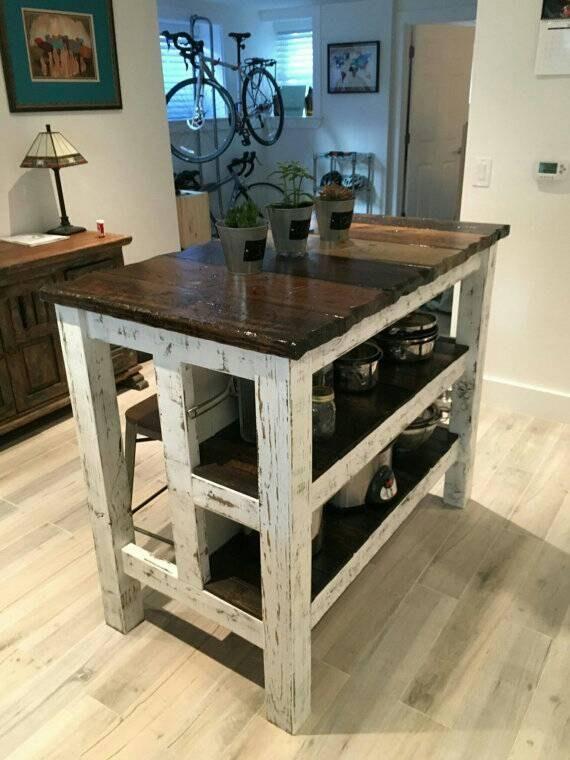 appealing reclaimed wood kitchen island | Reclaimed Wood Kitchen Island in 2019 | Pallet kitchen ...
