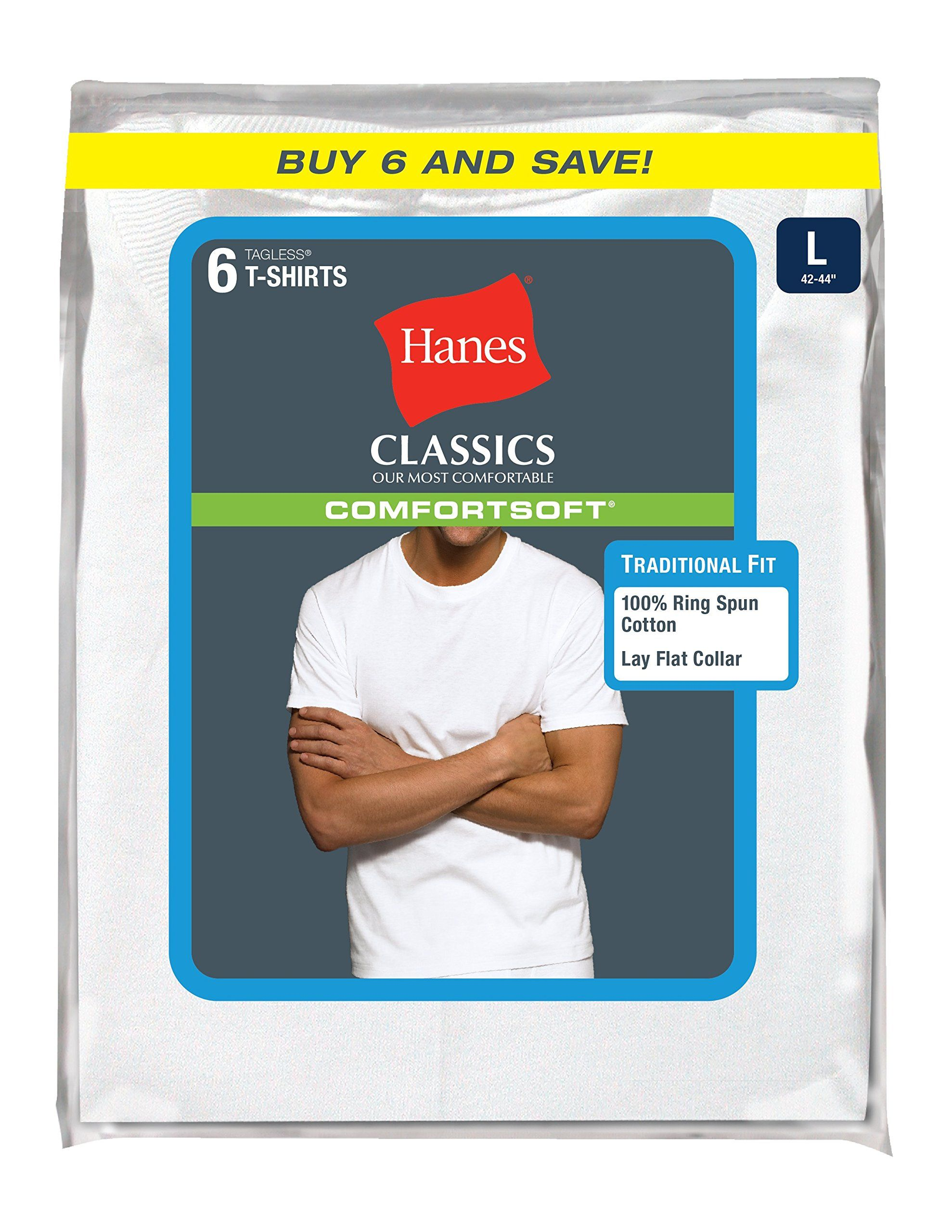 22cab7203b6ad Hanes Men s 6 Pack Ultimate Crew Neck Tee