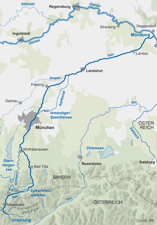 Karte Der Verlauf Der Isar Br De Seen Bayern Die Donau Karwendel