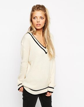 addde94bcd ASOS Cricket Jumper With V-Neck And Tipping | Dressing | Asos ...