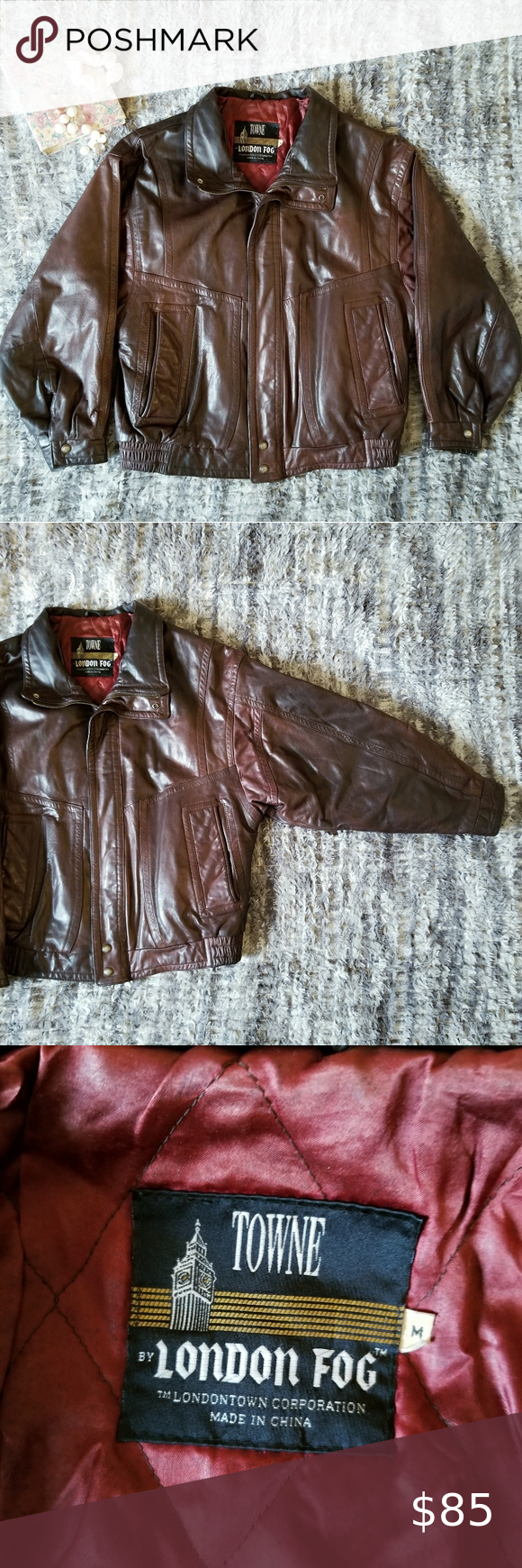 Towne By London Fog Vintage Leather Bomber Jacket Leather Bomber Jacket Leather Bomber Bomber Jacket