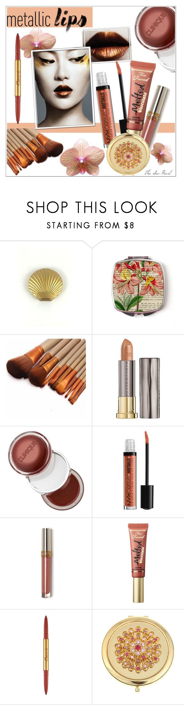 """Shine on: Metallic Lips - Copper Dreams"" by theseapearl ❤ liked on Polyvore featuring beauty, Urban Decay, Clinique, Too Faced Cosmetics, Bésame, Monet and metalliclips"