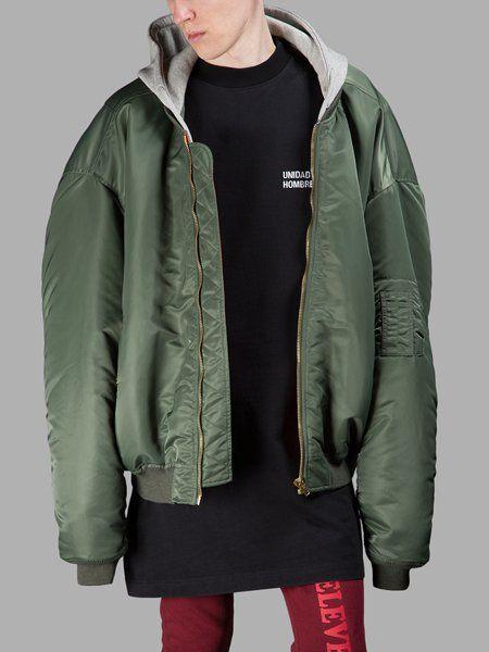 Stylish VETEMENTS Jackets for Men - Green Oversized Bomber Jacket ...