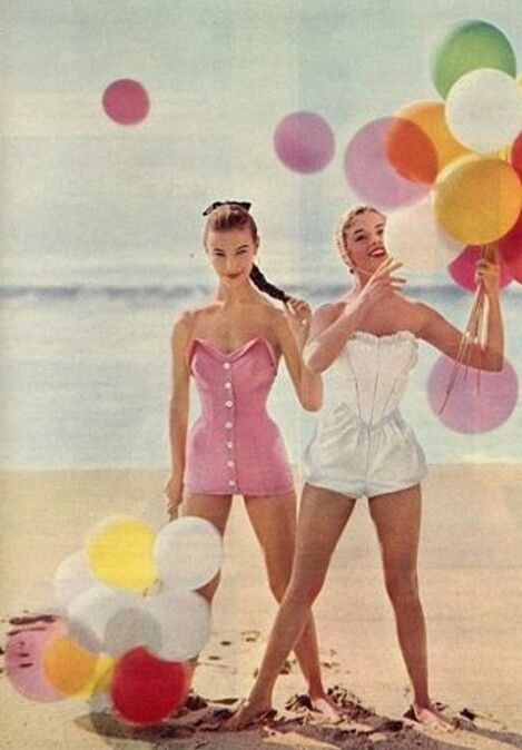 retro girls on beach