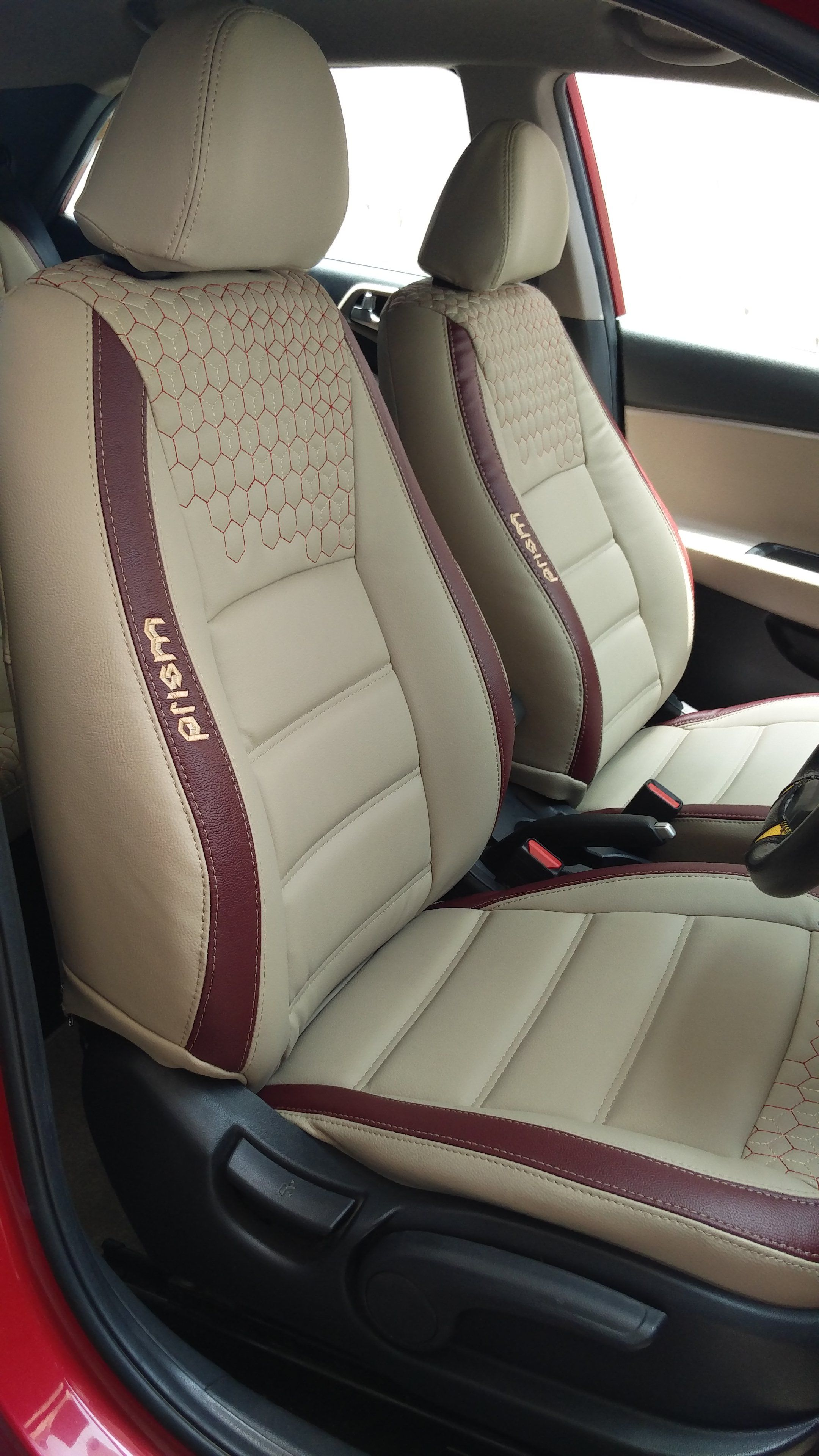 Glory Prism Art Leather Car Seat Cover Black And Red Hyundai Elite
