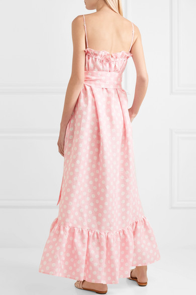 488f45d26c Lisa Marie Fernandez Liz Polka-dot Linen Maxi Dress - Baby pink in ...