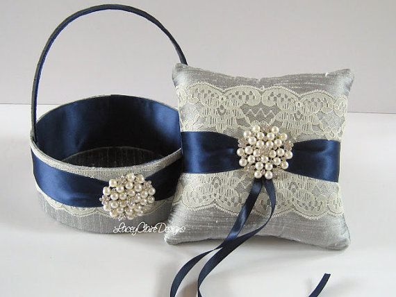 Wedding Ring Pillow And Flower Girl Basket Set Navy And Pewter