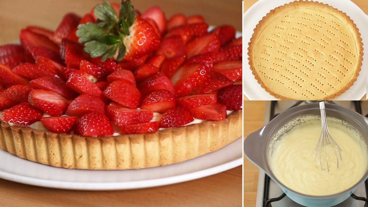 تارت الفراولة بعجينة التارت الأصلية بحشوة الكريم باتسيير مغطاة بالفراولة الطازجة Desserts Food Strawberry