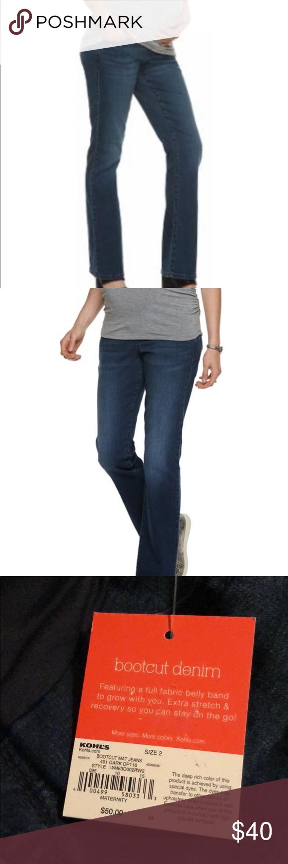 New A Glow Maternity Bootcut Dark Blue Jeans Denim In 2020 Dark Blue Jeans Bootcut Blue Jeans