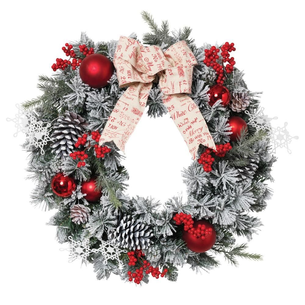 24 in flocked pine wreath2376430ec the home depot