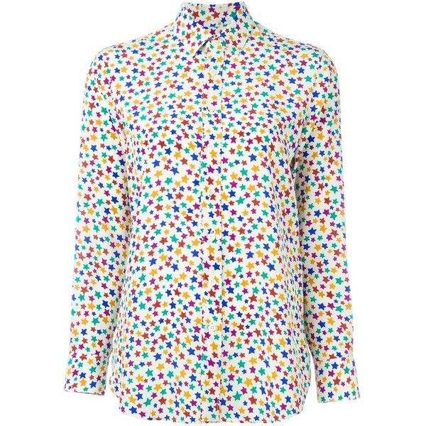Saint Laurent star print shirt (2.325 BRL) ❤ liked on Polyvore featuring tops, multicolour, long sleeve tops, yves saint laurent shirt, star print shirt, colorful shirts and silk shirt