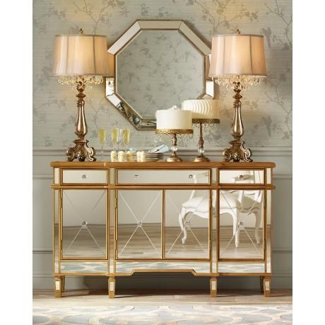 Hornbeck Gold Octagon 34 X 34 Beveled Wall Mirror 5k079 Lamps Plus In 2021 Mirrored Furniture Mirrored Console Table Console Table Lamp