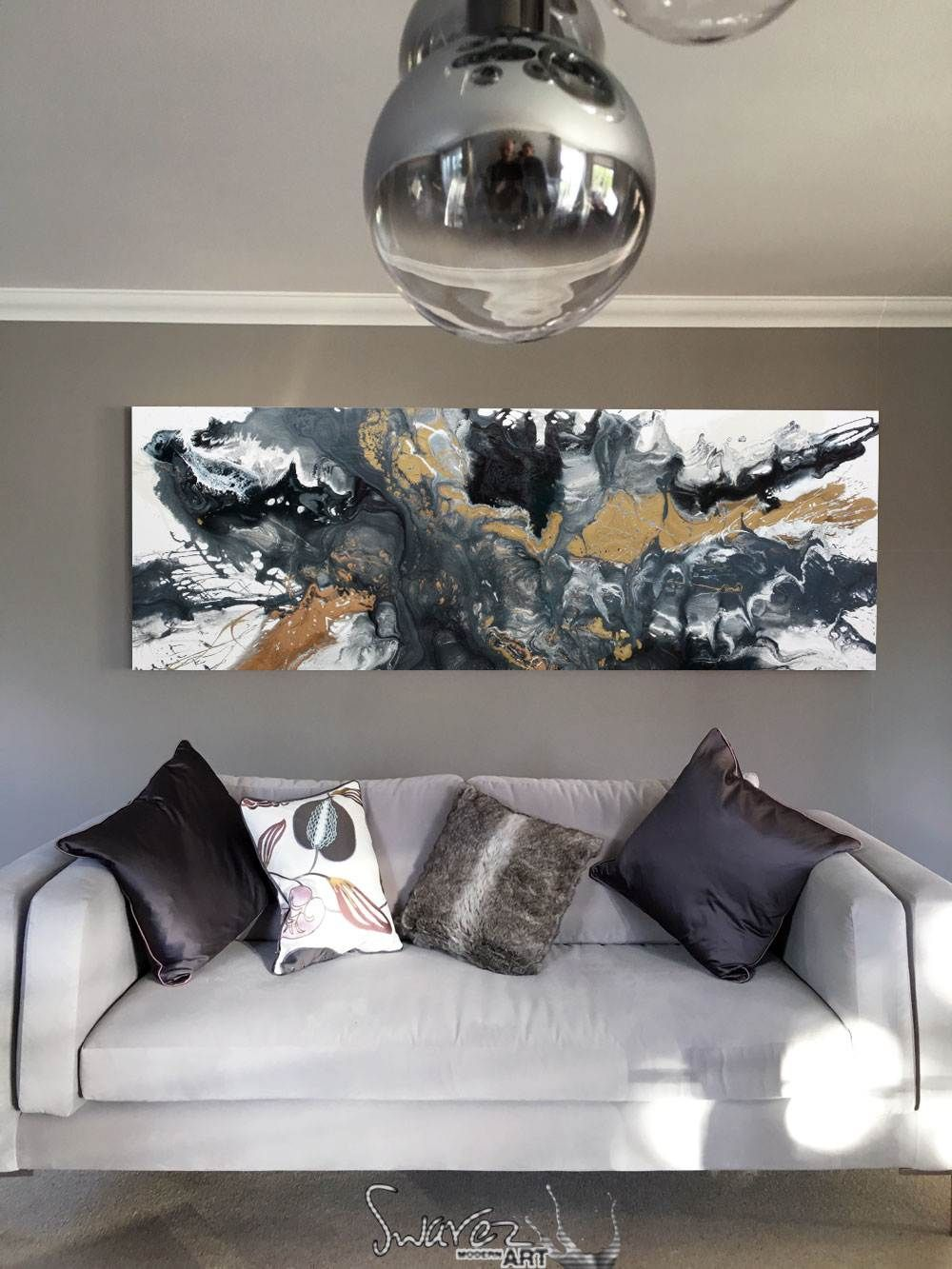 Long Grey And Black Original Abstract Painting With Gold And