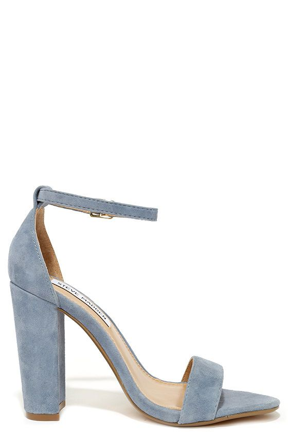Steve Madden Carrson Blue Suede Leather Ankle Strap Heels | Strap ...