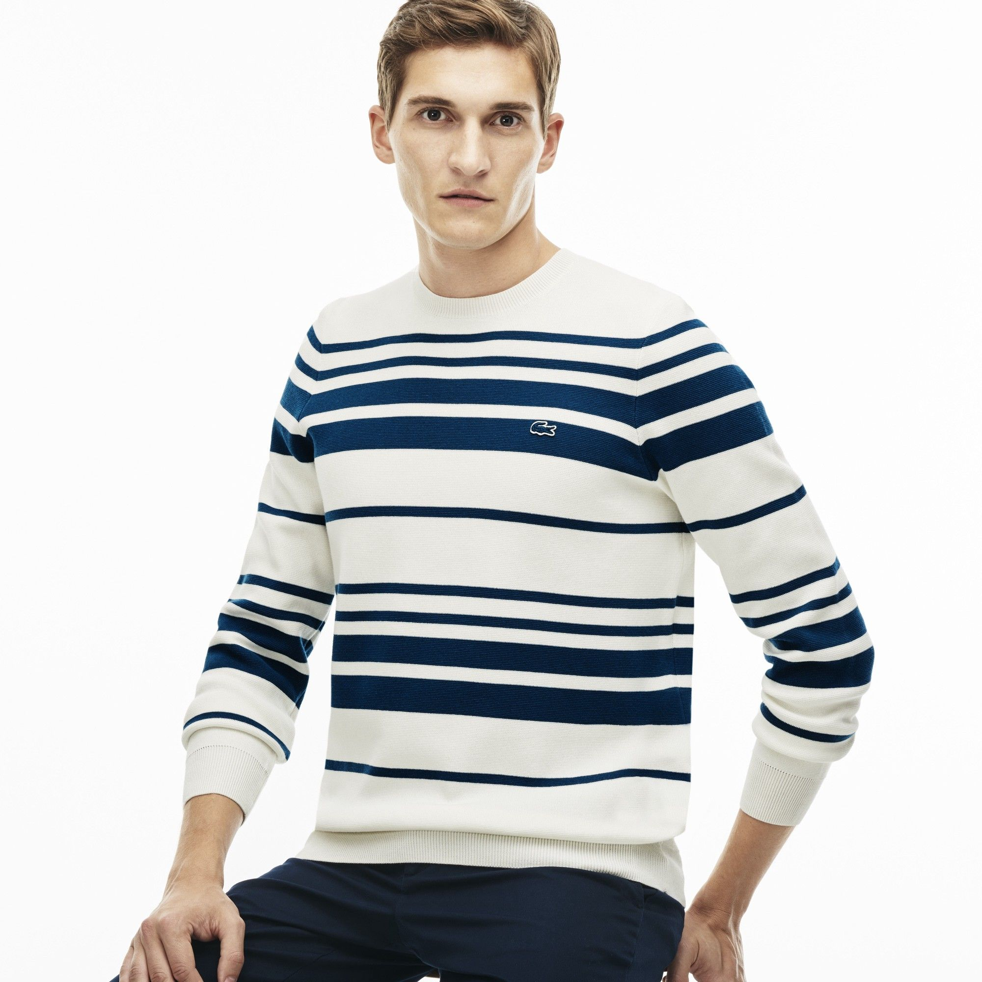0419738117b4 LACOSTE Men s Crew Neck Striped Milano Cotton Sweater - flour legion blue.   lacoste  cloth