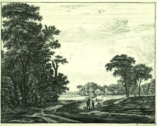 Roeland Roghman (1627-1692). Landscape with men and dog