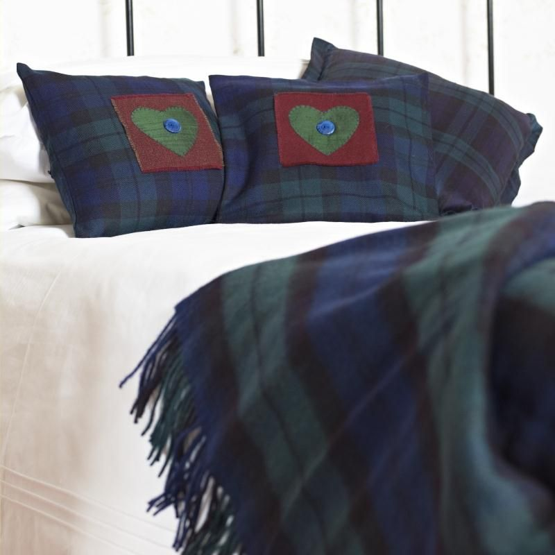 Brushed Wool Tartan Rug And Heart Cushions Pillows